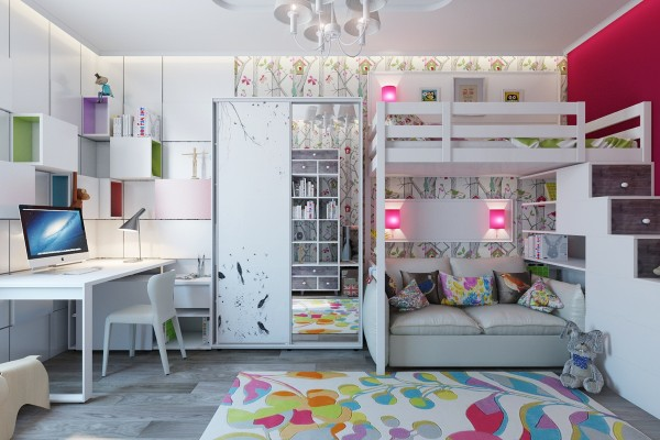 Though this girls room has more subdued colors, its just as stylish and fun.