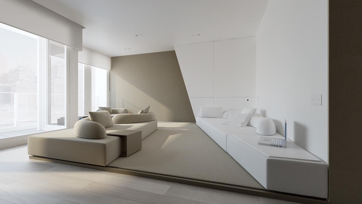 Stark sharp minimalistic interiors by oporski architektura for Minimalist condominium interior design