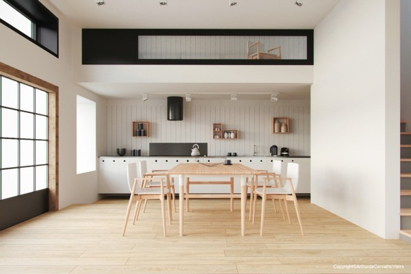 By matching the chairs and table to the wood floor, the furniture seems almost to disappear, making the space seem larger and more open.