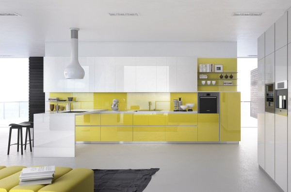 The bright yellow where gives the kitchen a very youthful glow.