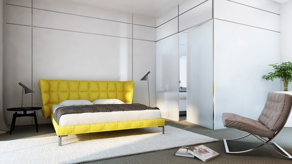 Here, yellow makes for a sunny morning every morning with this bright headboard and bed combination.
