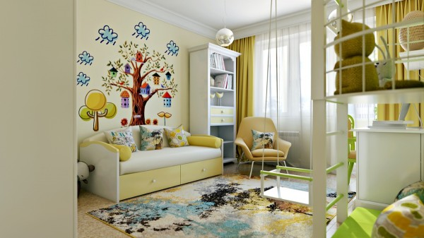 A whimsical tree decal, complete with cartoon rain clouds, adds a few more colors and a lot of personality.