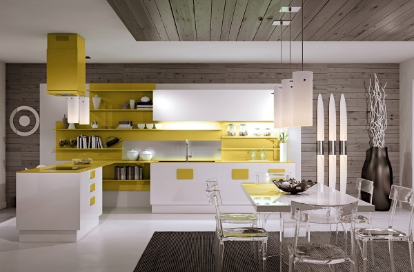 This kitchen really brightens things up with open cabinets of sunny yellow for a distinctly modern vibe.