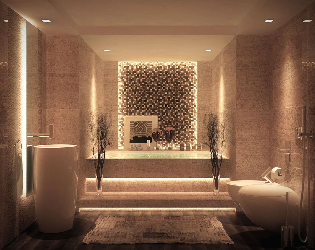 Luxurious bathrooms with stunning design details for Luxury bathroom vanity lighting