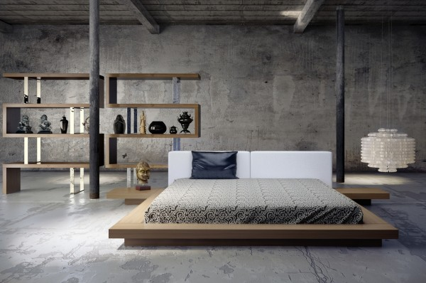 In an open, industrial-style loft, a beautiful bed is key. This simple wooden platform and matching shelving unit are the perfect solution.