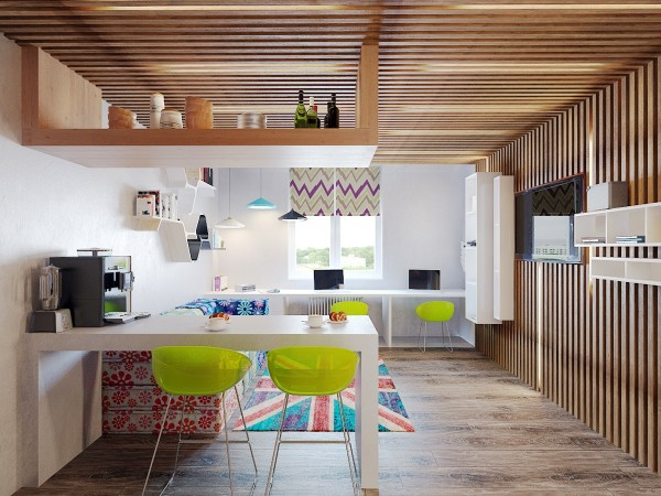 The living room opens into the breakfast area and kitchen, with a pair of lime green chairs for each.