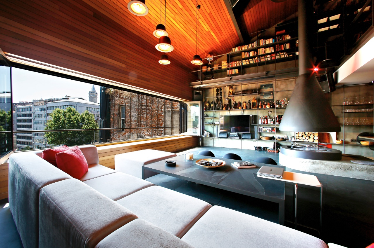 Awesome Wood Living Room - Karakoy loft uses rich wood features and creative industrial elements