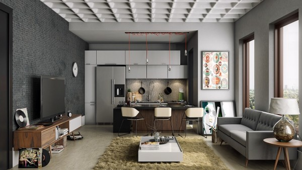 The textures in this masculine apartment are what really make it pop. From the ceiling to the shag rug, every surface is begging to be examined and touched.