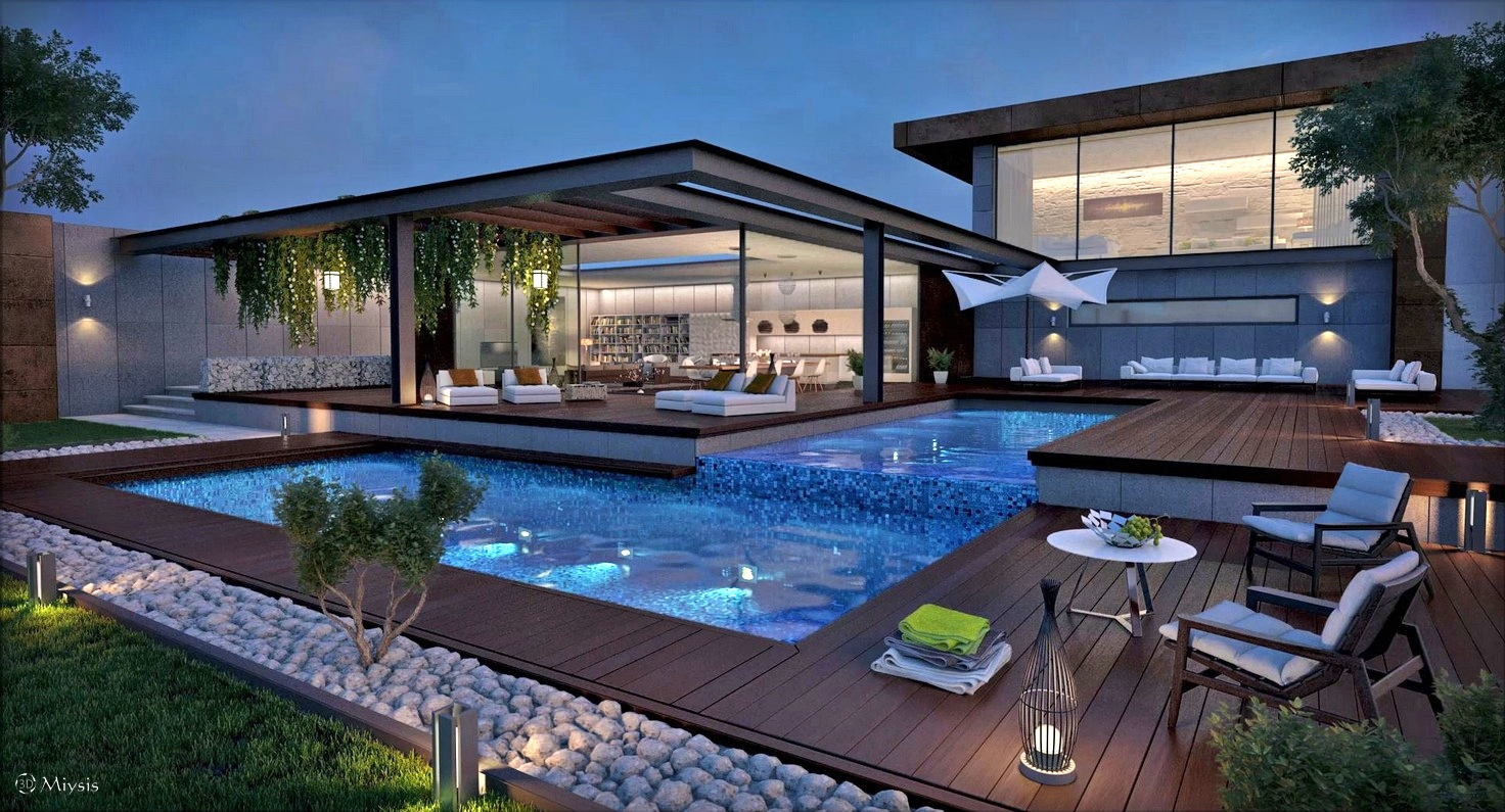Interior Design Ideas Modern House With Pool And Garden