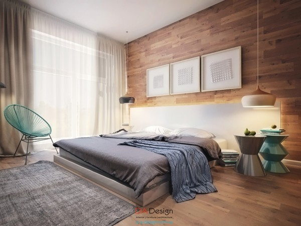 In the bedroom, we can see even more inspiration from the great outdoors, with modern wood paneled walls.