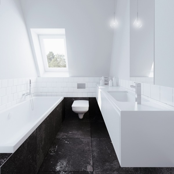 The bathroom is simple in black and white.