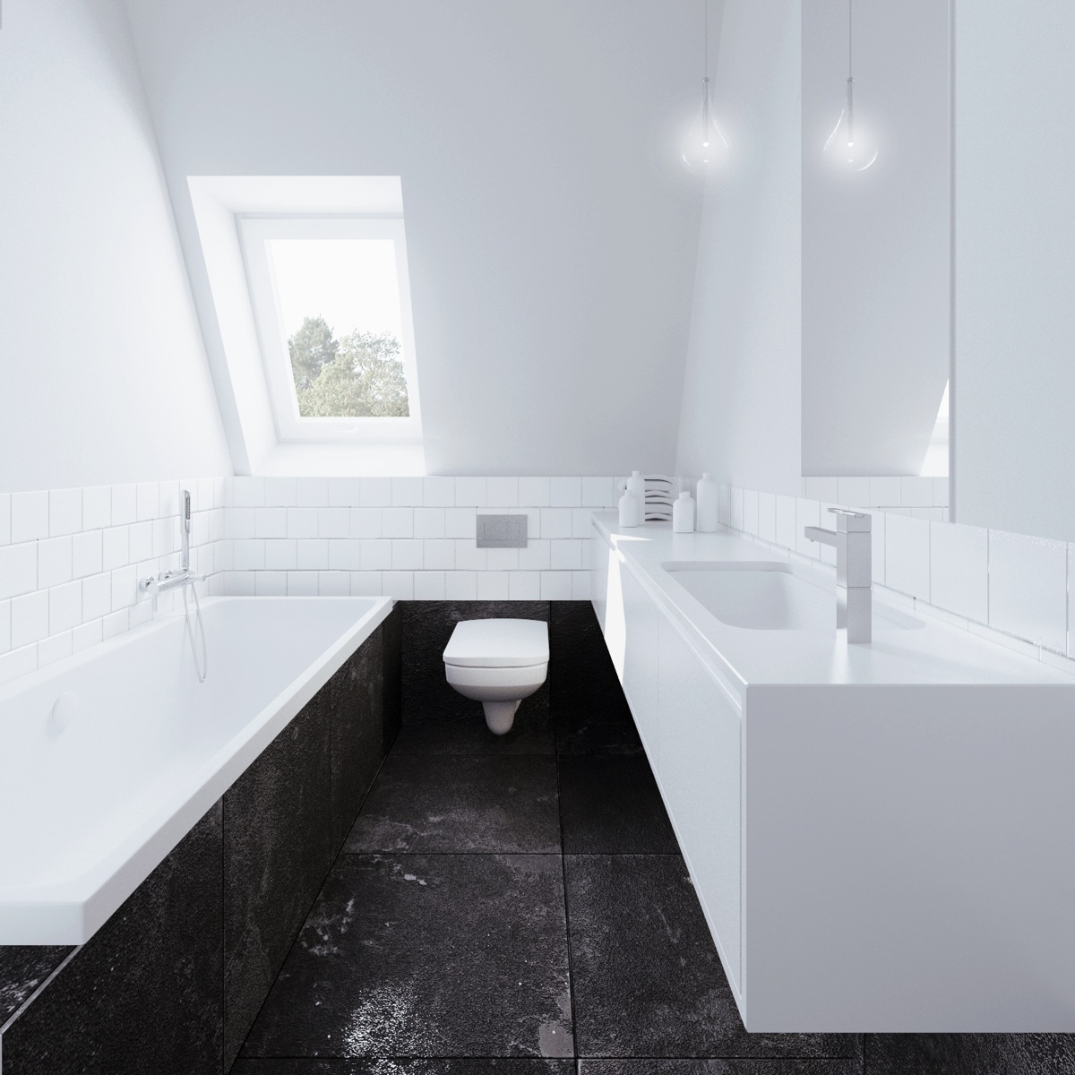 Black Stone Bathroom - Beautiful attic apartment with clever design features
