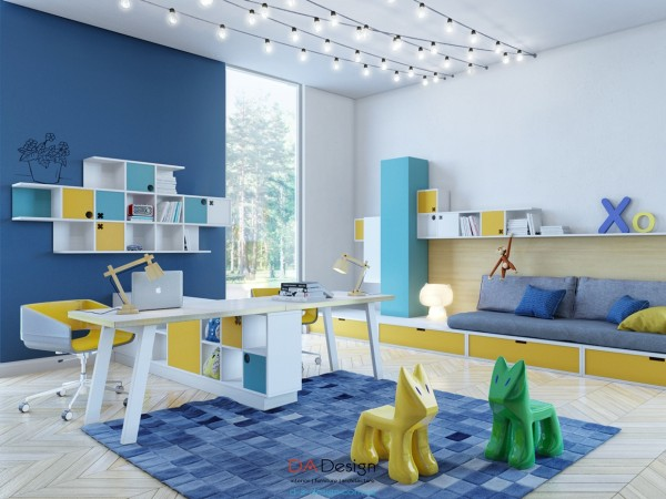 This third room moves back towards the shades of blue and yellow.