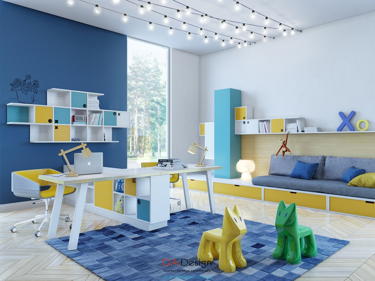 37 joyful kids room design ideas with blue yellow tones - Kids room image ...
