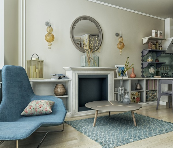 A round mirror over the mantle creates the illusion of space without overpowering the other design elements.