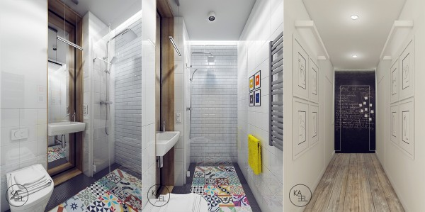 The second half bath is a bit more playful with colorful tiles lining the floor and a white brick shower.