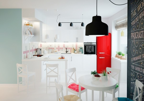 The kitchen is largely white and has a country chic style with splashes of pink and red.