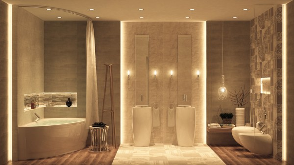 The simple neutral color scheme in this bathroom make it feel like a modern sanctuary.