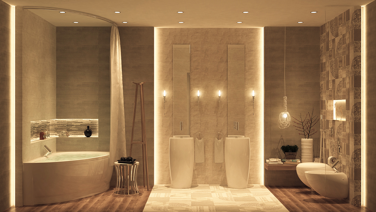 Luxurious bathrooms with stunning design details for Salle de bain douche italienne double vasque