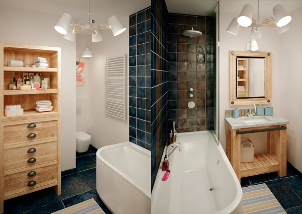 The bathroom is the only space where we find a bit of darkness in the form of jewel tone tiles.