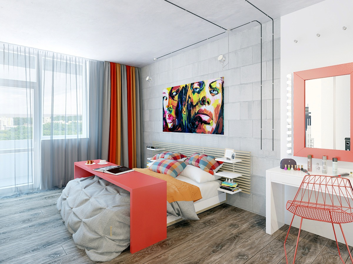 two cheerful apartments with creative storage and splashes of color