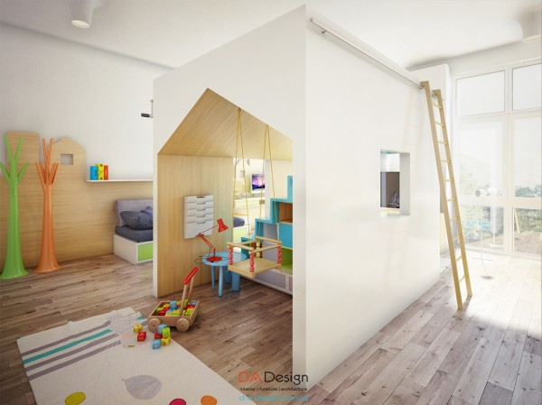 The kid's playroom is perhaps the most amazing room in this modern design.