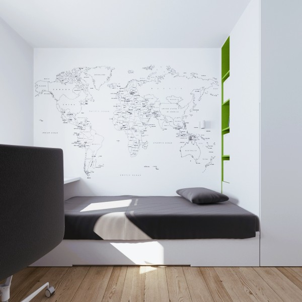 In the child's room we see even more evidence of clever storage, starting with the way the bed is tucked under the wall-to-wall desk. The creative map decal is also worth mentioning.