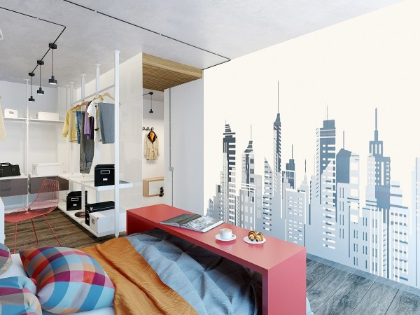And a cityscape wall decal offers even more personality.