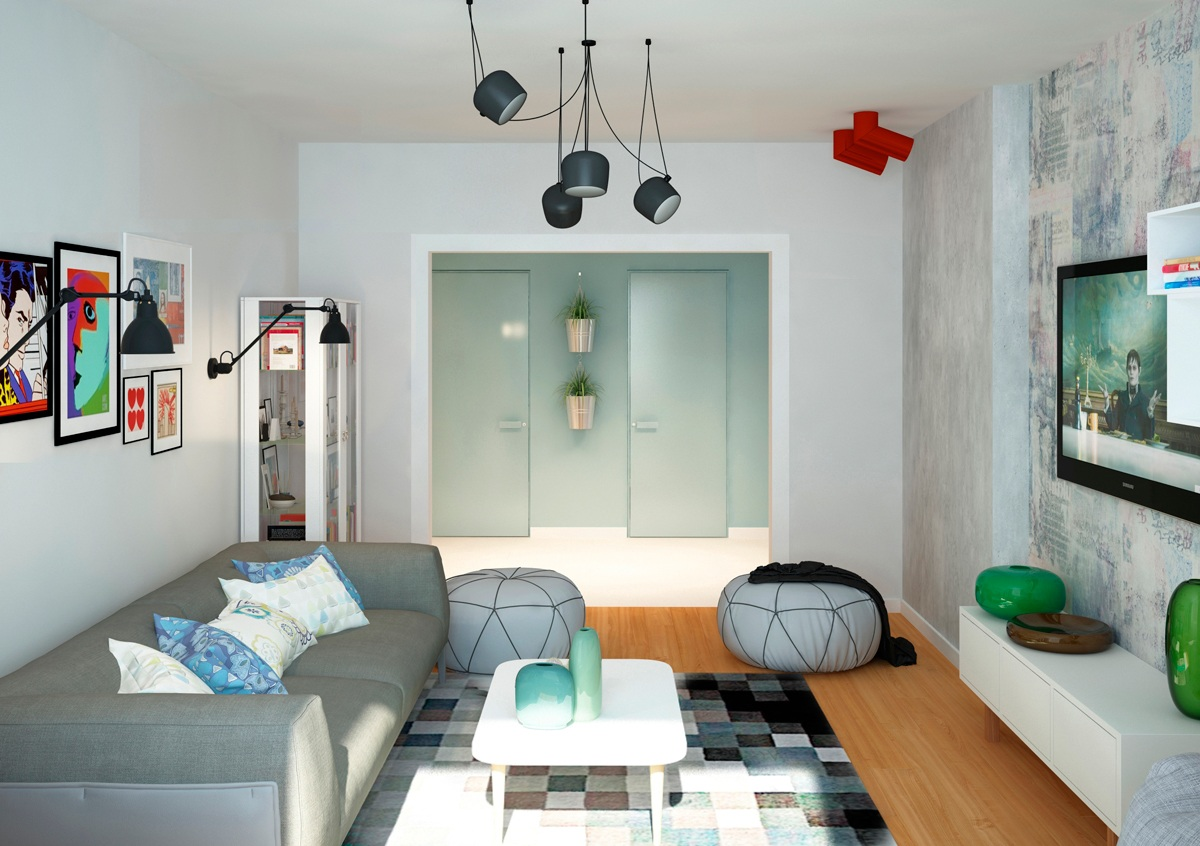 Two cheerful apartments with creative storage and splashes for Wohninspirationen wohnzimmer
