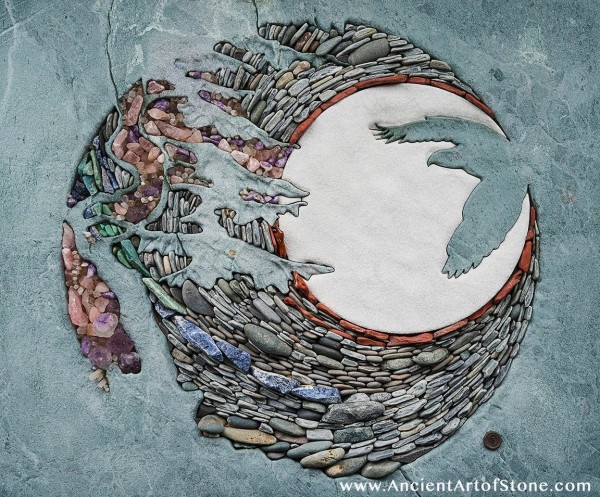 The stones can even be used to create less abstract compositions, as seen here with this soaring eagle and fully moon.