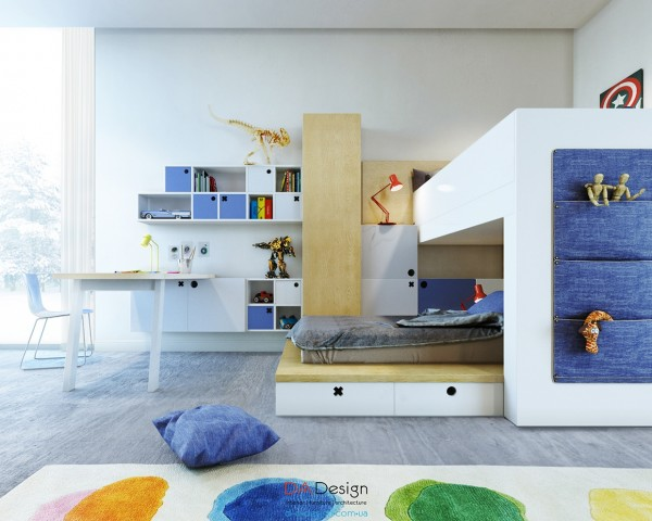 While it may not be revolutionary to include primary color palettes and plenty of light in a kid's room, the designers have done so here to great effect.