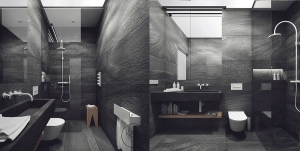 A second bathroom takes another path with its dark textured walls, but it's still entirely modern and sleek.