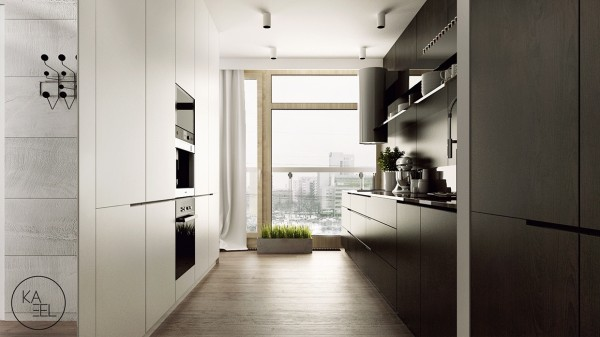 This kitchen feels surprisingly spacious for the overall size of the apartment.