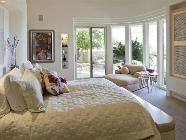 The bedrooms, of which there are four, are more indicative of casual elegance than high desert style.