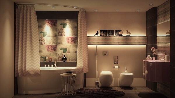 Another floral-inspired design adds pretty chevron strip curtains to hide away the tub when not in use.