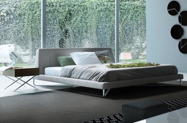 A super simple platform bed and mid-century style side table give this bedroom a distinct but understated style.