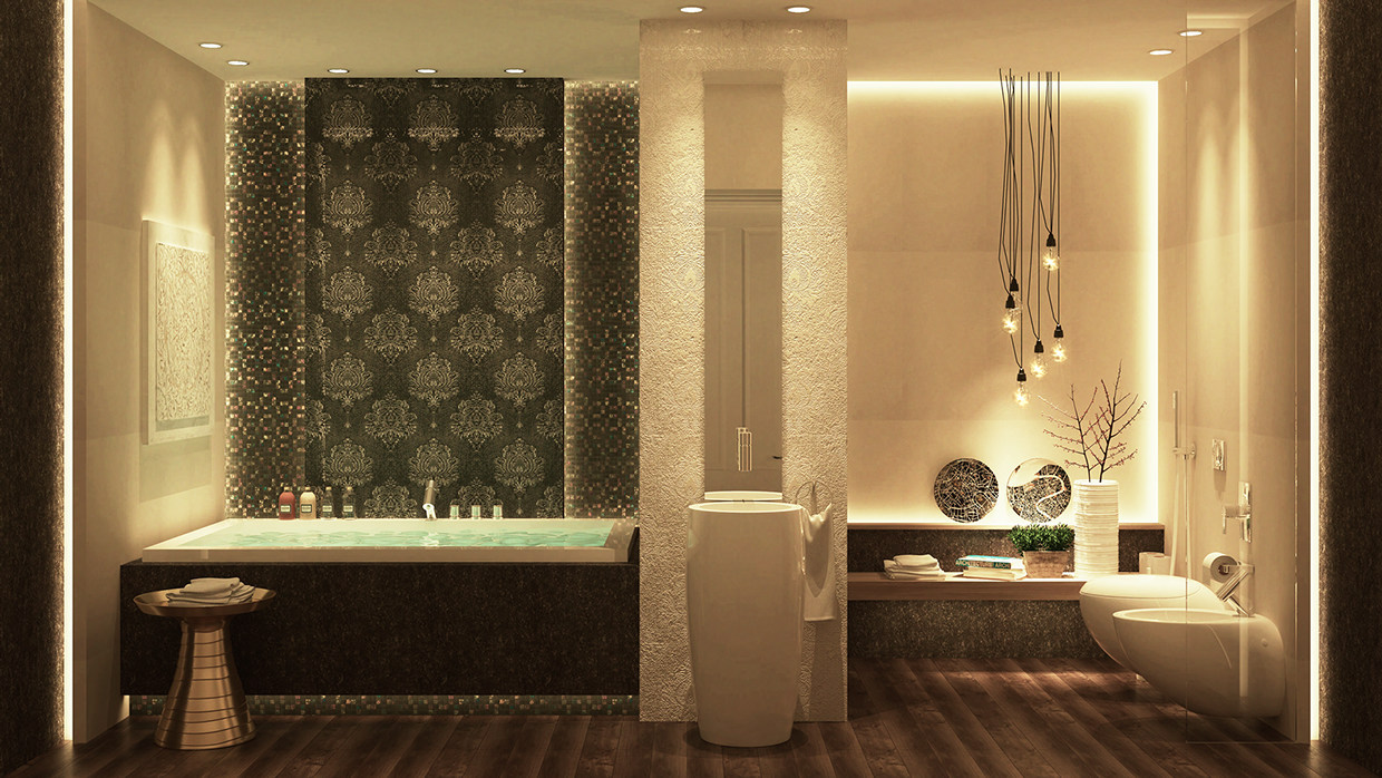 Luxurious bathrooms with stunning design details for Restroom decoration pictures
