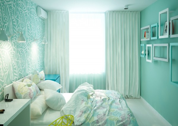 The lovely pastel palette comes into the bedroom in the form of a luminous seafoam green.