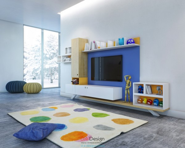 Custom shelving surrounding the television is perfect for books, trinkets, or toys.