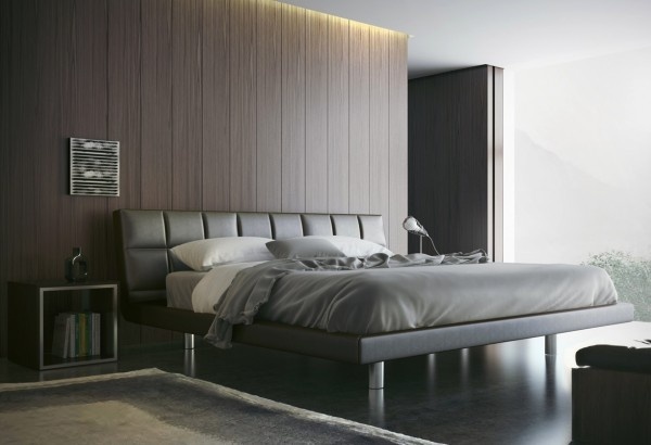 A leather headboard and simple cube end table are quite masculine touches here.