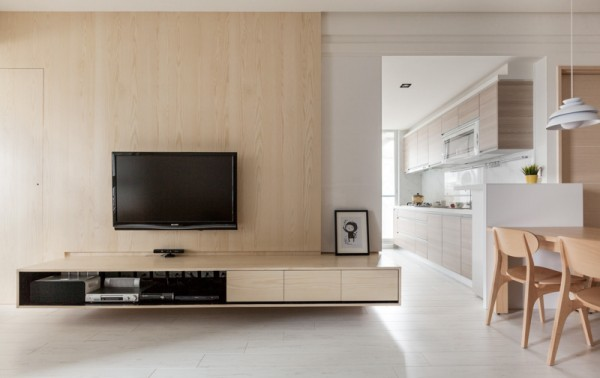 Wood TV Stand with Wall Panel
