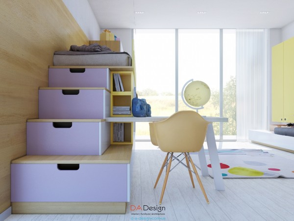 Lovely lilac shelving leading up to a small lofted bed doubles as drawer space.