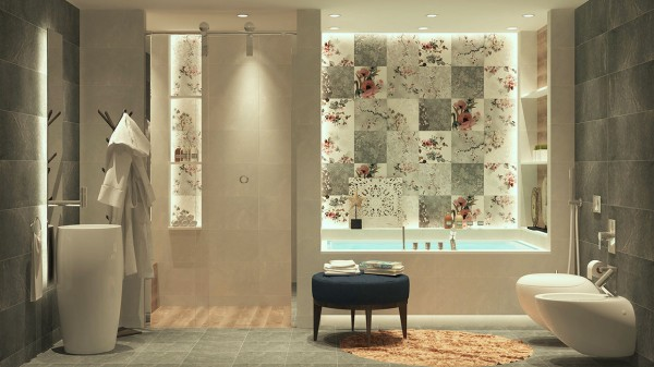 For a more feminine look, this East Asian-inspired bathroom is the perfect solution. Cool blue-gray hues throughout and pretty pink blossom patterned tiles are lovely and delicate.