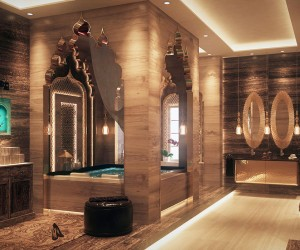 The elaborate archways over the tub are reminiscent of the Taj Mahal and its Mughal-style design.