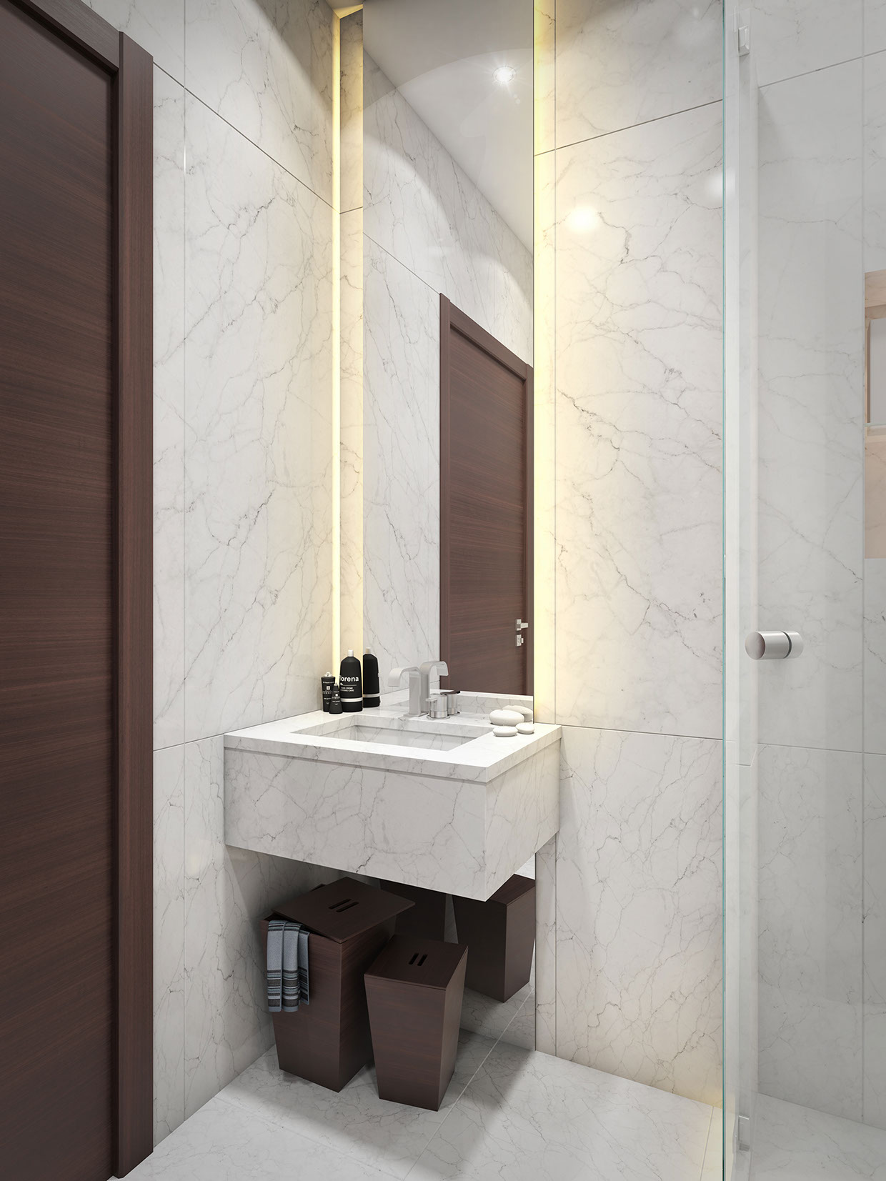 Marble Bathroom - 3 super small homes with floor area under 400 square feet 40 square meter
