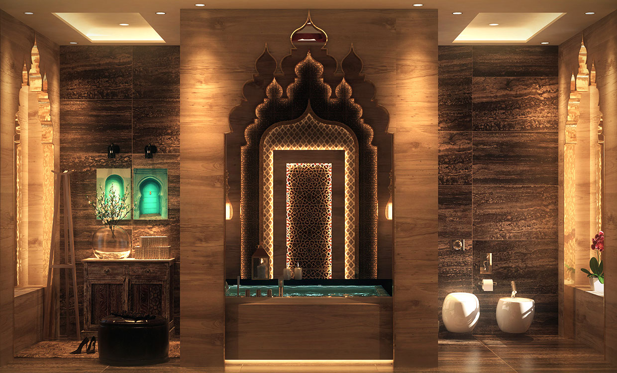 Luxurious bathrooms with stunning design details for Architecture orientale