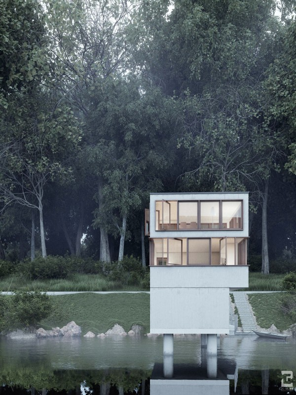 Finally, we have a two story house on a lake with windows that swing open to really give you a taste of nature.