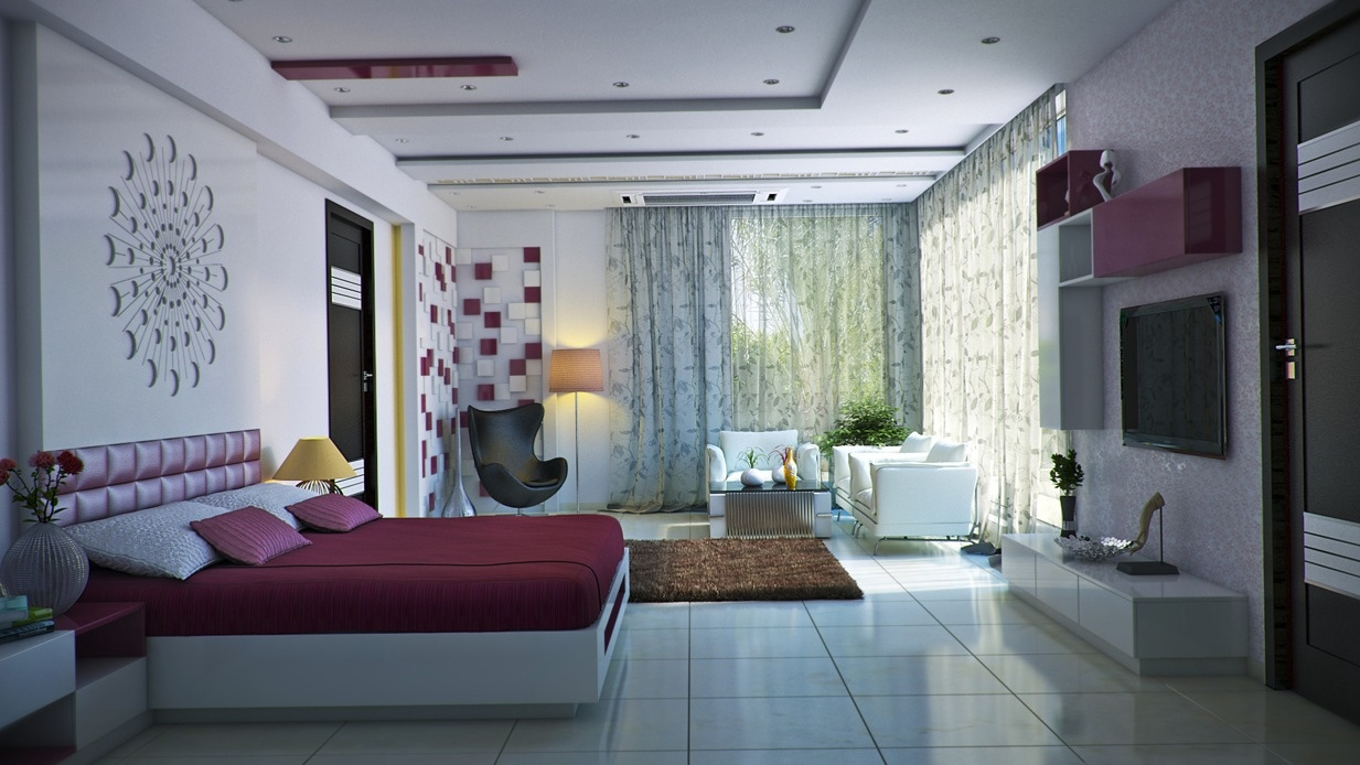 Modern feminine bedroom interior design ideas for Modern house interior design bedroom