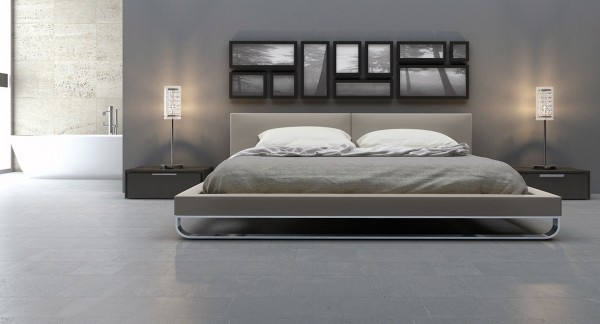 This modern bedroom is the ultimate in orderly, from its creative gallery wall to its perfectly matched table lamps.