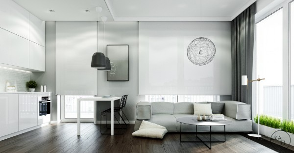 Grays and neutrals throughout the space really open it up.